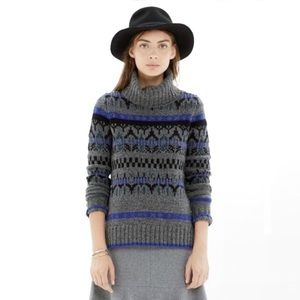 Madewell fair isle 100% merino wool turtleneck